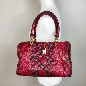 MARC JACOBS Red Python Quilted Westside Satchel